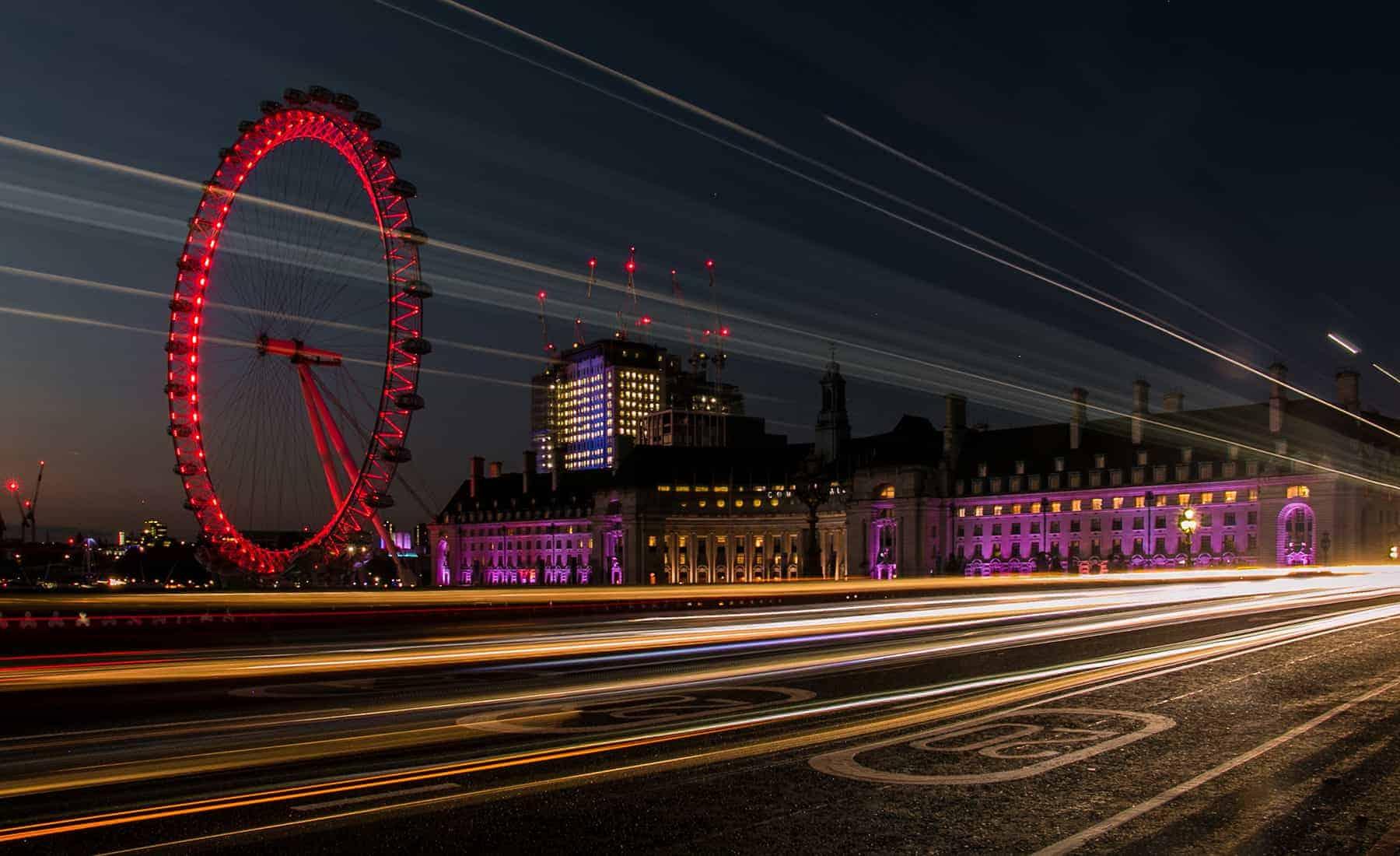 London Eye Ferris wheel at night