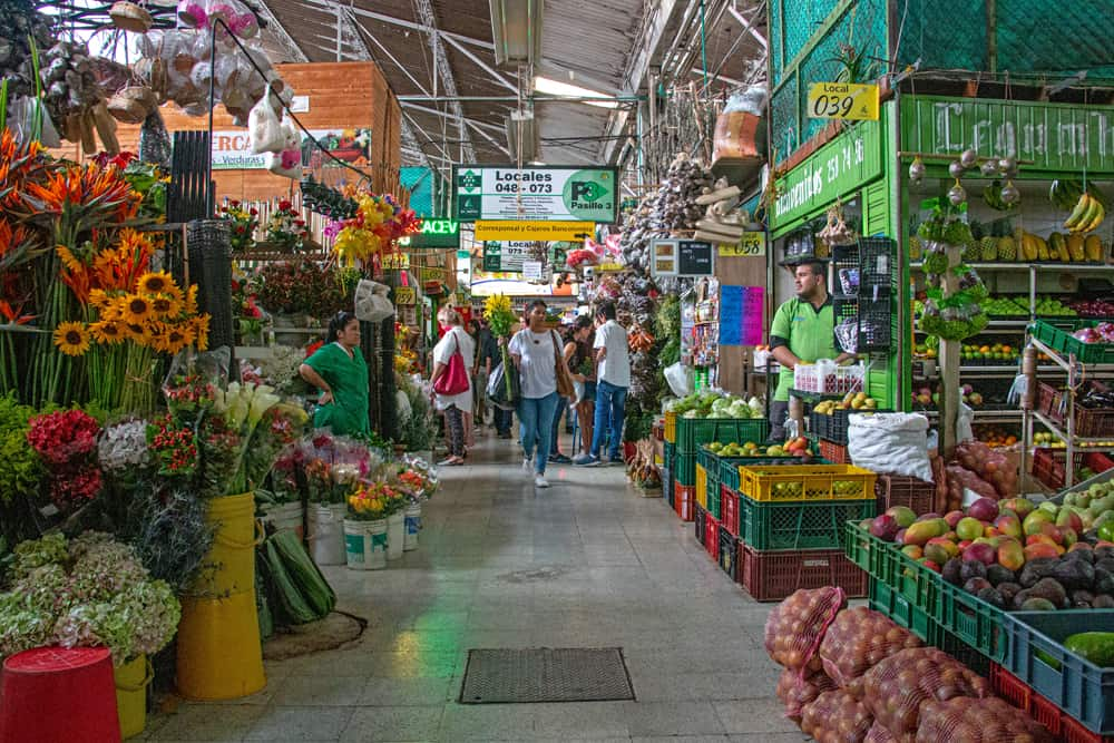 Market with food and flowers