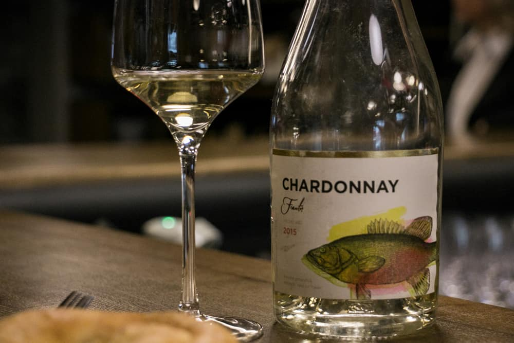 A bottle and glass of Moldovan Chardonnay in Chisinau