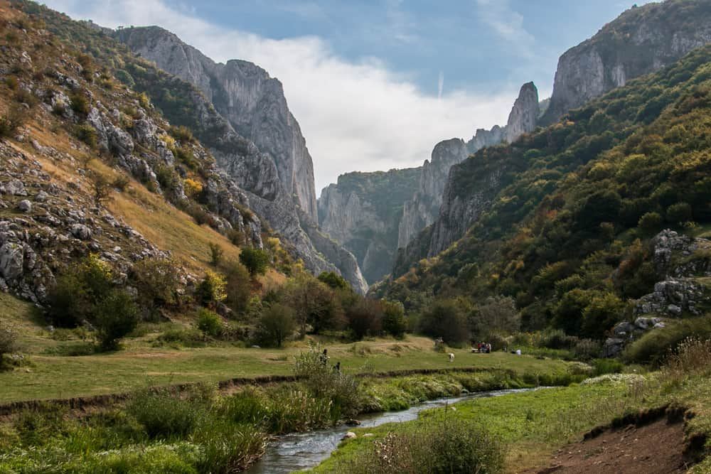 A stream running through a meadow from a dramatic canyon