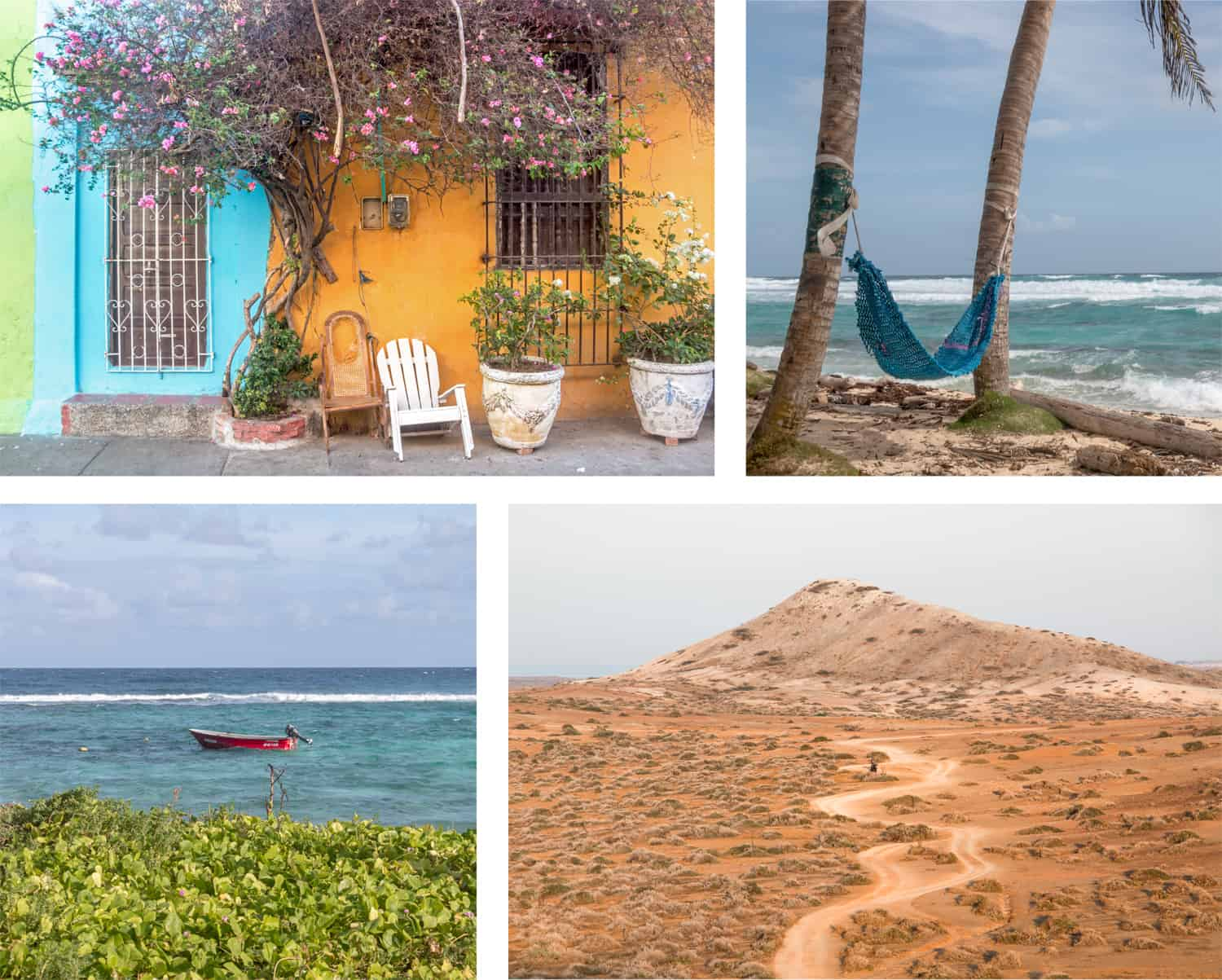 Random images from Colombia featuring a house, a hammock on a beach, a boat in the water, and a desert road.