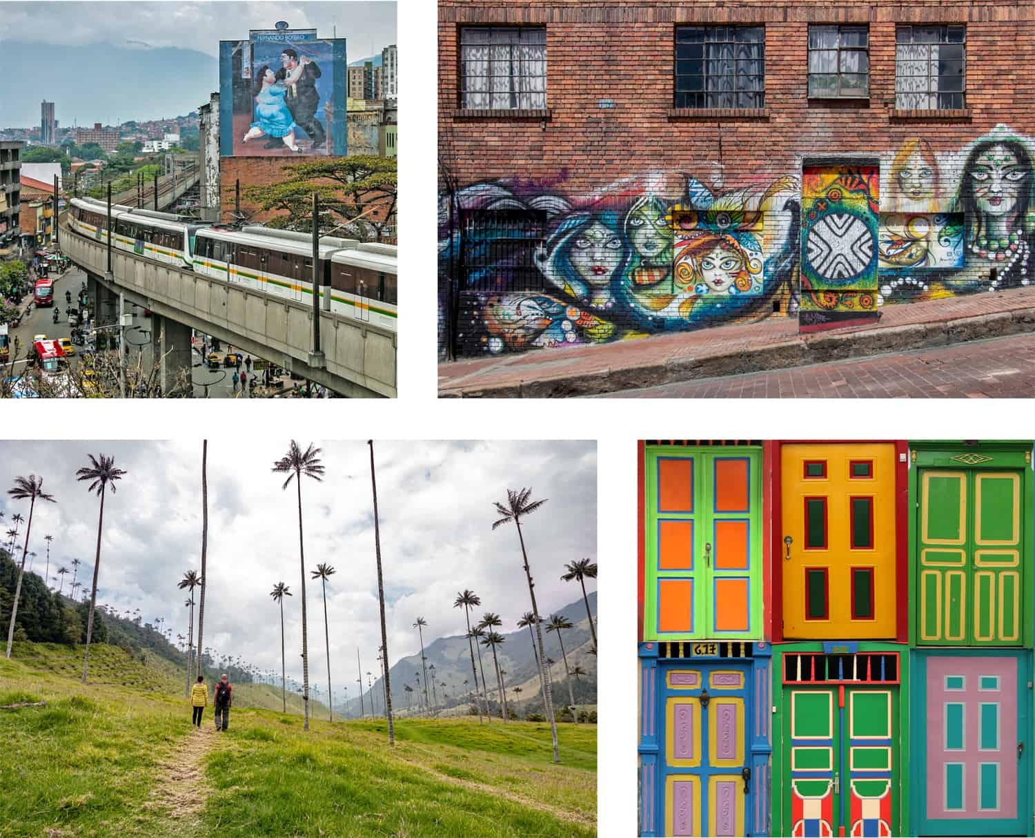 Random images from Colombia featuring graffiti on a wall, the Medellin metro, palm trees in a valley, and painted doors.